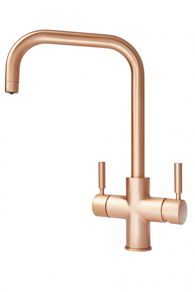 Geyser 3 in 1 Brushed Copper Instant Hot Water Tap U Spout